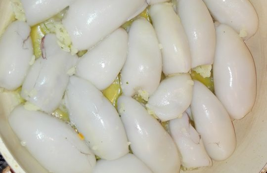 Calamar umplut cu orez fructe de mare